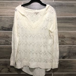 Cozy Casual Slouchy Ivory V-neck Sweater